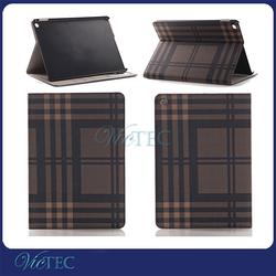 PU + PC power nap function plaid pattern flip case for ipad mini 4