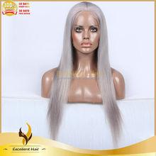 Fashionable smooth new grey hair human hair half wig