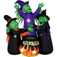 6ft inflatable halloween witch with led light for decoration in good quality