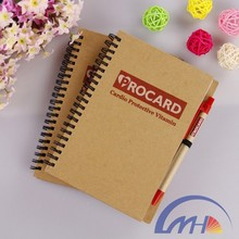 Hardcover colored paper and Ball Pen into Recycled Spiral Notebook