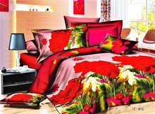 new design american size wholesale price 3d red flower jacaurd bridal wedding flax bed sheet