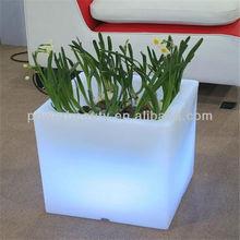 beautiful PE material rotational moulding waterproof glow led cube flower pot PBG-3527F