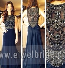 Fashion Navy Blue Sale Beaded Brazilian Evening Dress