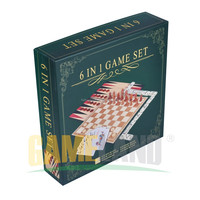 Board Game Great 6 in 1 Game Set: CHESS, CHECKERS, BACKGAMMON, DOMINOES, CARDS, DICE