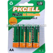 Batería recargable ni-zn 2500 mwh de recarga de la batería