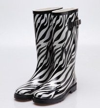 Classics women's rubber rain boots with zebra printing rain boots
