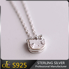 S925 jewelry teen girls cute present for teen girls pretty necklace sterling silver hello kitty face design 925 fine jewelry