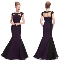 HE09996PP Sexy Purple Elegant Lace Maxi Mermaid Prom Women Evening Dress 2014