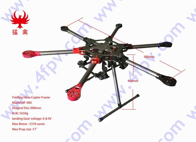 900mm Six-axis Carbon Fiber Folding Hexacopter Fpv Aircraft Rc ...