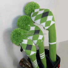 Green Color Golf Knit Cove Setr, Customize Cover,Golf Head Cover Set,Club Covers, Golf Accessories, 1,3,5 a set
