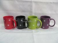 12OZ Christmas series solid color glazed ceramic wholesale mug with decal