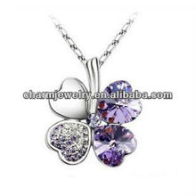 "Fashion Four Leaf Clover Pendant Necklace Violet Color Four Leaf Clover Pendant Necklace 18"" (PE-002D)"