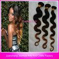 Caliente la venta de tres ombre de color del cabello virgen brasileño/tres de color de tono armadura del pelo