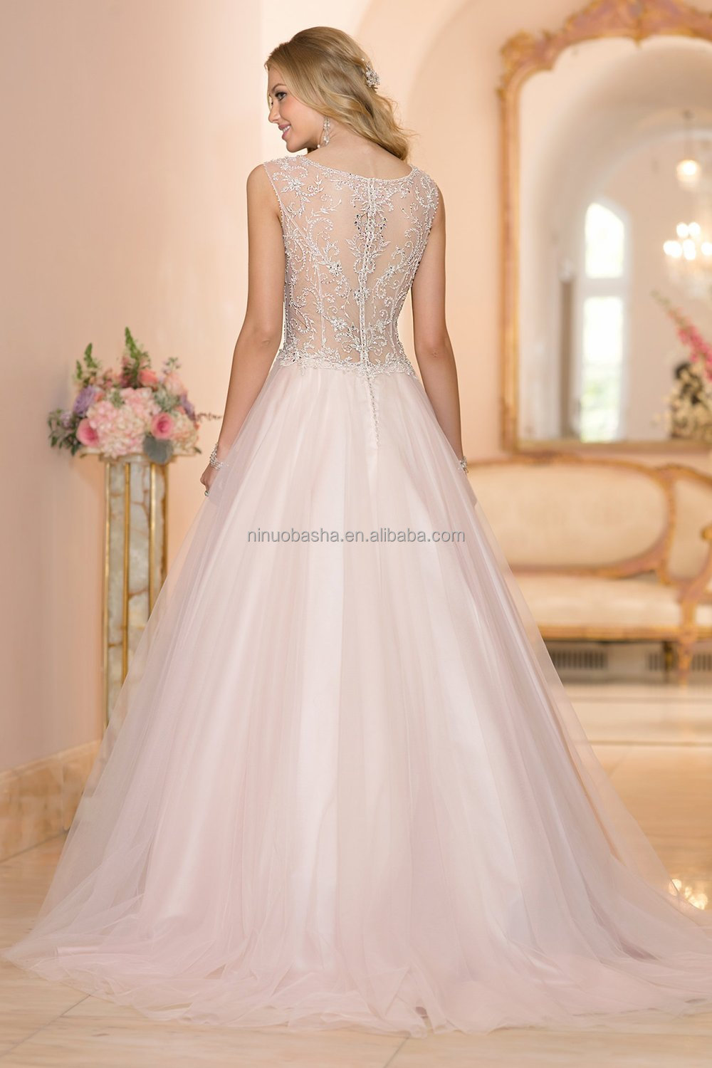 Latest Ball Gown Wedding Dress 2015 V-neck Cap Sleeve See Through ...