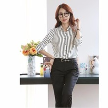 WS840 Ladies Black and White Striped Long Sleeve Chiffon Blouse Ladies Business Shirts Wholesale Clothing Women Tops