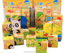 Hot sell 6 sides educational 3D wooden blocks toys