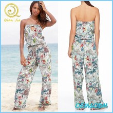 2015 Summer Ladies' Viscose Strapless Floral Jumpsuits / Playsuits