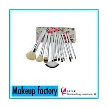 12Pcs Makeup Brush Set with Peach Blossom Printing Cosmetic Bag