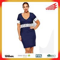 Sexy pron Lace Adorned Navy Plus Size Dress oem