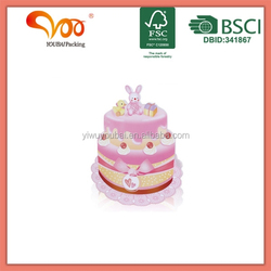 Gift and craft wrapping custom design g white card paper birthday 3d cake paper bag