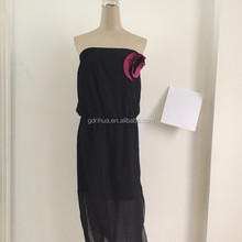 Fashion design 3d flower chiffon trim sexy women tube maxi dress