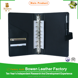Good quality Business A5 Leather notebook cover with ring binder/Genuine leather notebook cover/ notebook leather cover