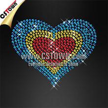 Teal heart nailhead shape iron transfers for t shirts