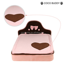 2015 cute love pattern luxury plush dog sofa bed with pink color