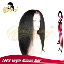 Natural Hairline Full Lace Human Hair Wig Black Mongolian Hair Kinky Straight full lace wig with baby hair for black women