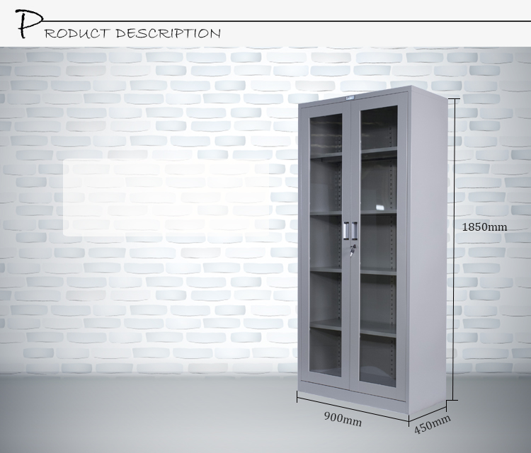 Modern Furniture Design Fire Resistant Cabinet 2 Glass Door 4