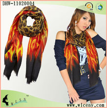 Sexy Cashmere Scarf With Leopard And Fire Print