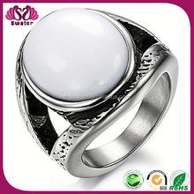 White Stone Men Ring With Big Stone