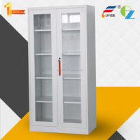 Wholesale glass double door KD structure used Chinese dressing wardrobe steel cupboard