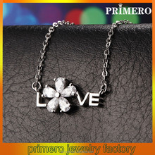 PRIMERO 925 sterling silver micro diamond necklace LOVE letters clavicle chain necklace alphabet necklace charm