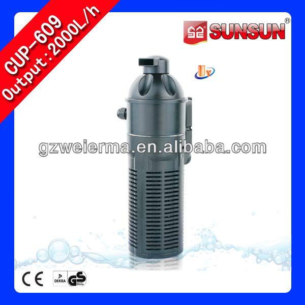 Peces verticales ultravioleta del tanque del filtro de agua de la bomba de oxígeno función