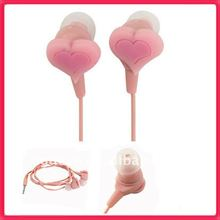 MP3 Silicone Earbuds Heart Design Pink In Ear Earphone