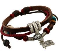 Fashion Pirate Flag Skull Charm Leather Bracelet