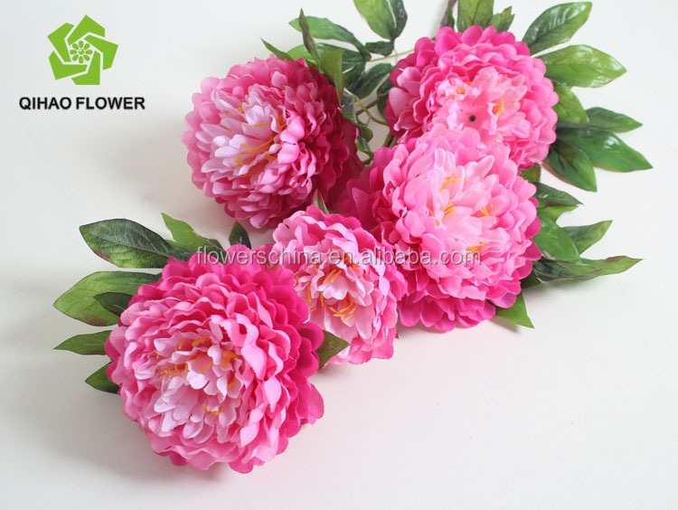 Wholesale Pink Peony Silk Flower For Wedding Decoration Artificial