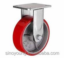 Cast iron PU fixed caster wheel