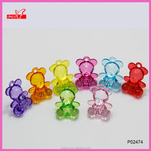 Mixed color transparent acrylic bear charms for DIY jewelry making P02474