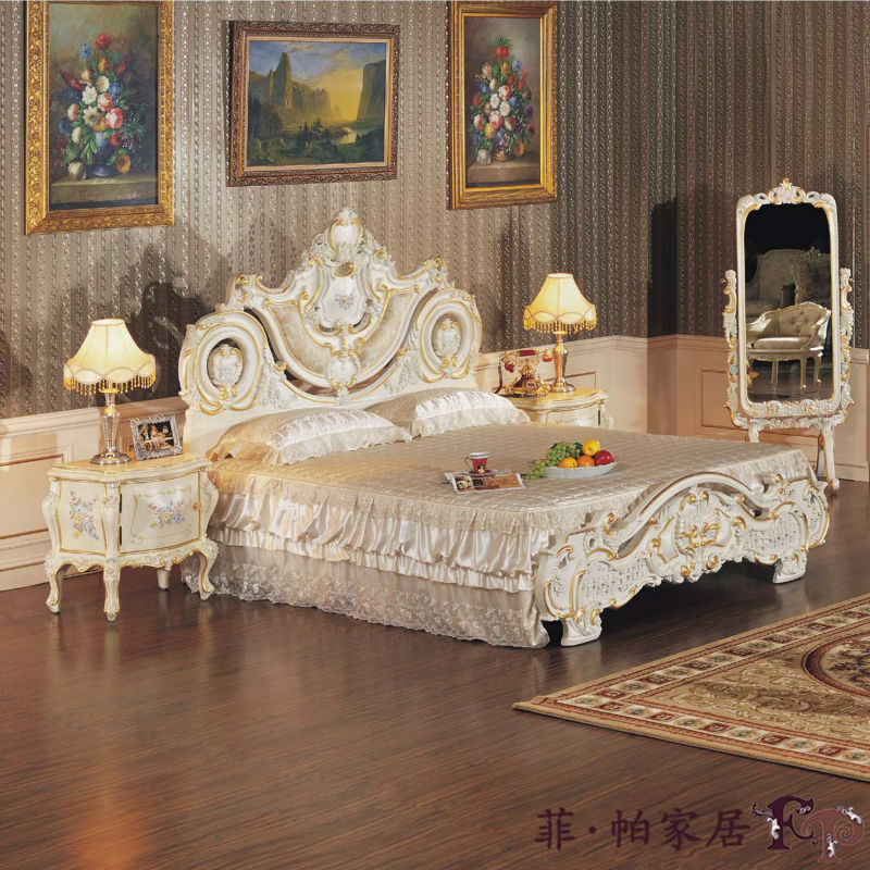 European style bedroom furnitures luxury hand carving for Euro muebles