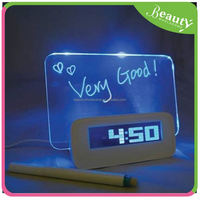 rainbow clock ,H0T021 glow electronic LCD message boards alarm clock with phone charger