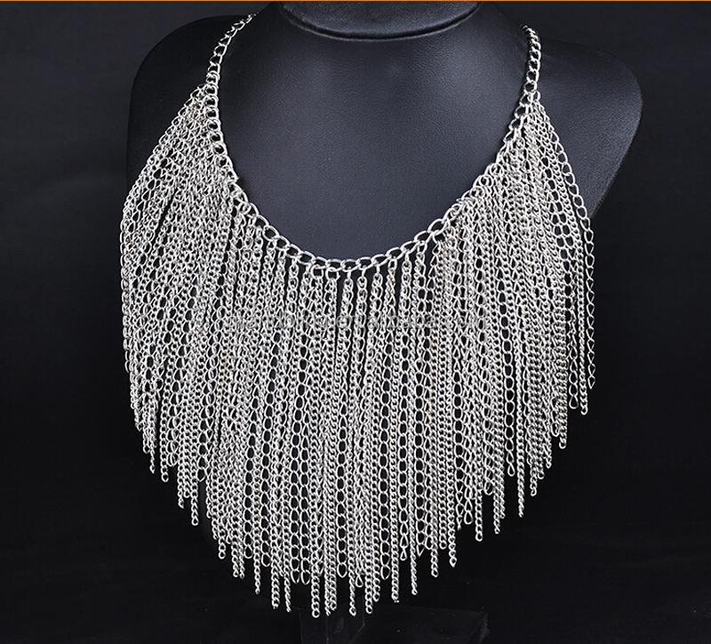 Venta al por mayor hecha a mano de moda último collar de cadena larga para dama