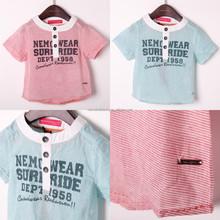 2015 summer children clothing guangzhou manufacturer 100% cotton baby boys top tripe printing kids shirt