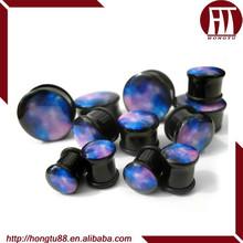 HT Milky Way UV Acrylic Single Flared Saddle Plugs Ear Gauges Stretcher Kits