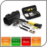 15 in1 functions stainless Alloy professional bike tool bicycle repair tool set for tyre repair inflator