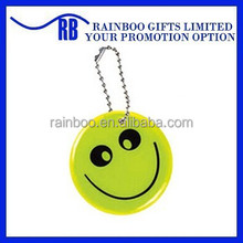High quality hot selling smile shape Pvc reflective tag with keychain for promotion