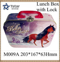 cute lunch tin box with handle, fancy lunch tin box