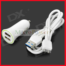 Dual USB Car Charger + Micro USB 3.0 9-Pin Cable for Samsung Galaxy Note 3