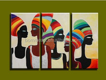 Modern 3 panel canvas wall art handmade abstract Sexy African women oil painting on canvas for living room bedroom decoration